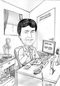 Karrikatur: Professor Boccaccini am Schreibtisch sitzend mit einer Tasse Kaffee
