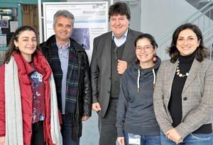 V.l.: Lazaridou, Prof. Bikiaris, Prof. Boccaccini, Marcela und Dr. Liverani beim Besuch aus Griechenland.
