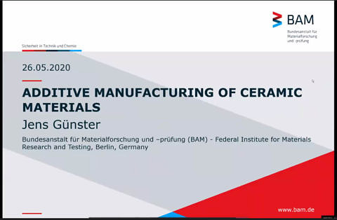 Additive Manufacturing of Ceramic Materials Titelfolie des Vortrags