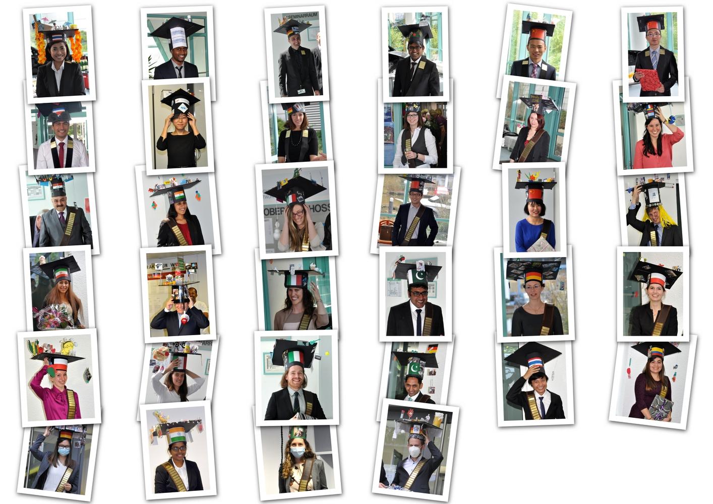 Alle erfolgreichen Doktoranden mit ihren Doktorhüten als Collage